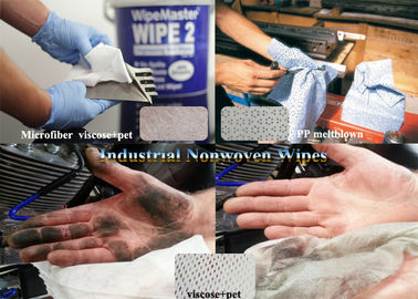 China ISO Viscose+pet branco, Microfiber, limpezas industriais absorventes do Nonwoven de Spunlace do uso do óleo do Woodpulp fornecedor